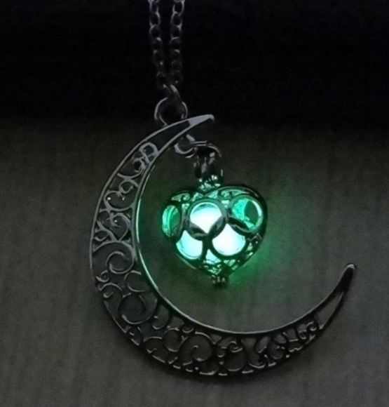 glow in dark moon pendant